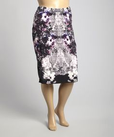 Look what I found on #zulily! Black & Lilac Floral Skirt - Plus by Modamix #zulilyfinds