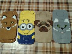 Porta carregador de celular Felt Phone, Felt Kids, Diy Bags Purses, Glasses Case, Mobile Cases, Felt Animals, Felt Crafts, Craft Fairs, Crafts To Sell
