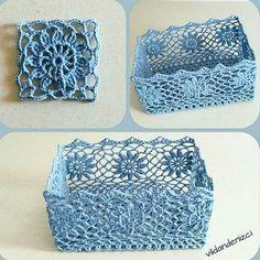 MARVELLOUS Beautiful crochet basket with flowers on edge Crochet Squares, Crochet Doilies, Crochet Flowers, Crochet Stitches, Crochet Bowl, Free Crochet, Knit Crochet, Knitting Patterns, Crochet Patterns