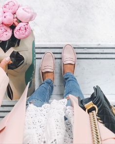 Blush loafers, distressed jeans, lace tee and pink peonies for a fresh spring outfit