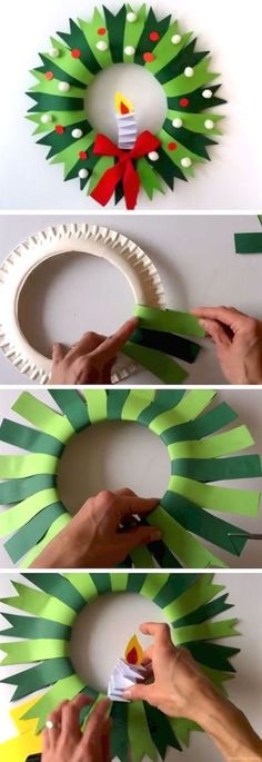 Paper plate Christmas wreath - Holiday Crafts for Kid's - Crafts for kids Christmas Decoration For Kids, Diy Christmas Arts And Crafts, Christmas Activities For Kids, Holiday Crafts For Kids, Diy Christmas Ornaments, Diy Crafts For Kids, Christmas Wreaths, Kids Diy, Crafty Kids