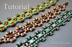 On The Wave - beadweoven bracelet tutorial with Czech two-hole CzechMates tile, SuperDuo and Rulla beads, also with new Czech Matubo beads and seed beads size 11/0.