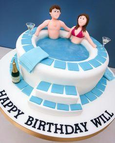 Cakes for Men and older boys - Elegant Birthday Cakes, Crazy Birthday Cakes, Beautiful Birthday Cakes, Birthday Cake Girls, Pool Party Cakes, Pool Cake, Jacuzzi, Fondant Man, Fondant Cakes