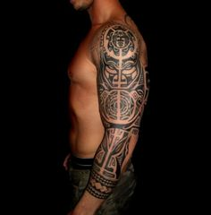 sleeve tattoos with solid wrist bands | Arm Tattoos Black And White Half Sleeve Tattoo Sleeve Tattoos Tribal