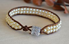 Single Pearl Wrap Bracelet with Crystal Clasp by HeartofGems, $18.00