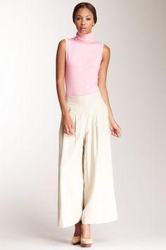 High Waisted Linen Wide Pant