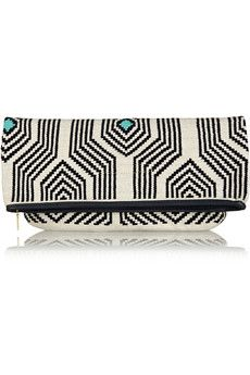 Sophie Anderson Camille leather-trimmed crocheted cotton clutch | NET-A-PORTER
