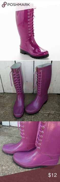 Aqua stop lace up rain boots Tall rain boots, pink purple color super cute but the bottom is starting to come apart that is why they are so cheap. Will be donated soon so make an offer! aqua stop Shoes Winter & Rain Boots