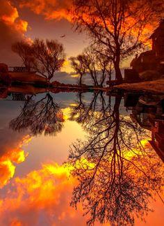 nicesight — Turkey 🇹🇷 Sunset - Reflection Photo by. Beautiful Landscape Wallpaper, Beautiful Landscapes, Beautiful World, Beautiful Places, Beautiful Pictures, Lofoten, Reflection Photos, Sunset Wallpaper, Nature Scenes