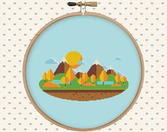 Autumn landscape cross stitch pattern nature cross stitch