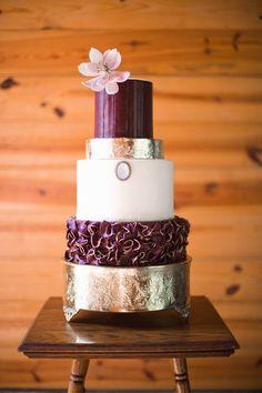 Marsala and metallic wedding cake idea