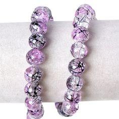 One Strand Purple Crackle Glass 10mm Beads Black Splashes 83 Beads Approx J58101  | eBay