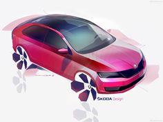 Skoda Rapid Spaceback 2014 Car Design Sketch, Car Sketch, Iron Man Hulkbuster, Exterior Rendering, Exterior Design, Vw Group, Industrial Design Sketch, Transportation Design, Mobile Design