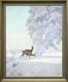 Deers in winter morning | 100cm x 80cm | Antiques Missaglia - Italy