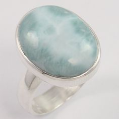 925 Sterling Silver Jewelry Ring Size US 6.75 Natural LARIMAR Gems Manufacturer #Unbranded