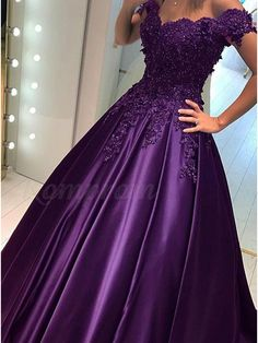 Ball Gown Off-the-Shoulder Dark Red Prom Dress with Appliques Beading