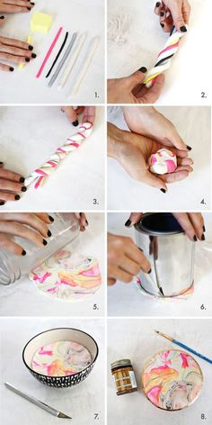 Marbled Clay Ring Dish – A Beautiful Mess So pretty! easy marbled ring dish (click through for tutorial) The post Marbled Clay Ring Dish – A Beautiful Mess appeared first on DIY Crafts. Polymer Clay Projects, Diy Clay, Polymer Clay Jewelry, Easy Polymer Clay, Polymer Clay Animals, Amor Ideas, Ideias Diy, Ring Dish, Clay Tutorials