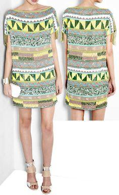 Antik Batik Jacara Aztec Beaded Mini Dress