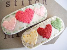 MiKi's Heart Applique Wool Felt Hair Clip for girl and baby -Valentine day special-a set of 2 clip