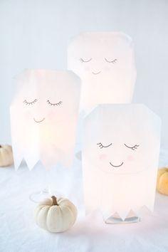 leuchtende Halloween Geister basteln