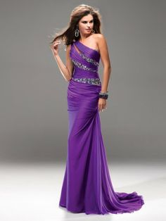 Sheath/Column One-shoulder Sweep/Brush Train Chiffon Prom Dresses