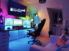 Video game room ideas, game room setup, gaming setup for bedroom, PC game setup, gaming console room Computer Gaming Room, Gaming Room Setup, Pc Setup, Gaming Desktops, Gaming Pcs, Gaming Chair, Computer Room Decor, Office Setup, Office Desk