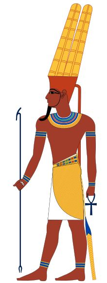 Amun was a local deity of Thebes. He was attested since the Old Kingdom together with his spouse Amaunet. With the 11th dynasty (c. 21st century BC), he rose to the position of patron deity of Thebes by replacing Monthu. After the rebellion of Thebes against the Hyksos and with the rule of Ahmose I, Amun acquired national importance, expressed in his fusion with the Sun god, Ra, as Amun-Ra.