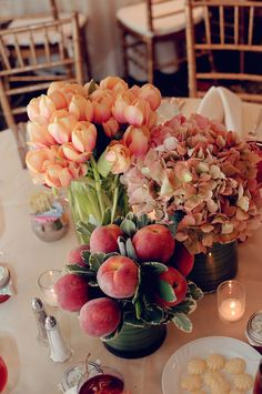 Peach Tulip and Hydrangea Centerpeice. If I had a reception to do over again, THIS would be a goal of mine!