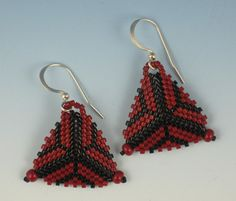 Red Triangular Web Earrings by AmbrosianFiberArts on Etsy
