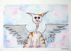 UNTIL WE MEET AGAIN original watercolor CAT ACEO free shipping