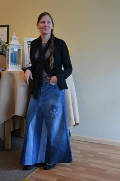 Ladies Long Jean Skirt Size 6 by whimsicaljeansnsuch on Etsy ...