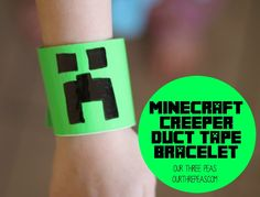 Minecraft Creeper Duct Tape bracelets that are perfect for a birthday party favor! | Our Three Peas #minecraft