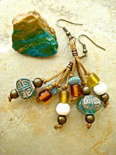 Boho Earrings  African Earrings  African by HandcraftedYoga, $28.00