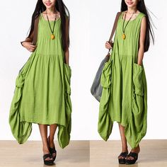 Large pockets of green vest dress / cotton irregular by dreamyil