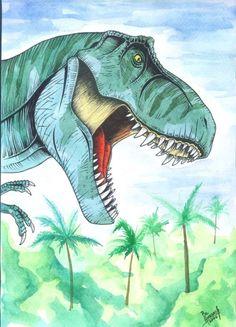 Dinosaurs.  Fuck Yeah, Dinosaur Art! Looks like Jurassic Park T-Rex.