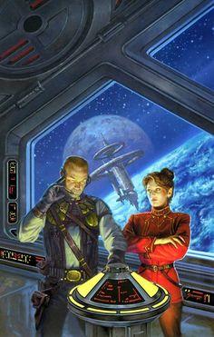 Honor Harrington on the Bridge Space Fantasy, Sci Fi Fantasy, Cyberpunk, Arte Sci Fi, 70s Sci Fi Art, Classic Sci Fi, Illustration, Retro Futuristic, Sci Fi Characters