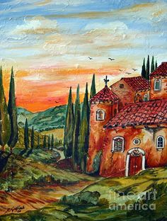 Old Tuscan Farmhouse in Chianti by Roberto Gagliardi Tuscan Art, Farmhouse Paintings, Italian Home, Framed Prints, Canvas Prints, Italian Artist, Tuscany, Colored Pencils, Tapestry
