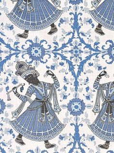 Christopher Farr Fabric - Dancers - Indigo - $172.25 Per Yard #interiors #decor #home #design #ethnic #blue #white #pattern #pillows #drapery #curtains #living #room #bedroom