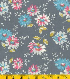Made in America Cotton Fabric-Partially Colored Flowers