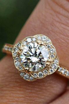Diamond Engagement Ring - floral ring rose gold- Green Lake Jewelry #engagementring #engagementrings #diamondring #proposal
