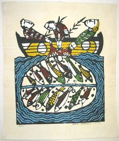 Japanese Art by the artist Sadao Watanabe | The miraculous Draught of Fish 1972