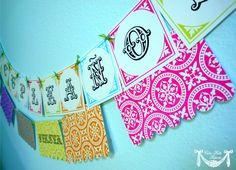 PRINTABLE FELIZ CUMPLEANOS Banner Vintage Fiesta by CutiePutti. $7.50 USD, via Etsy.