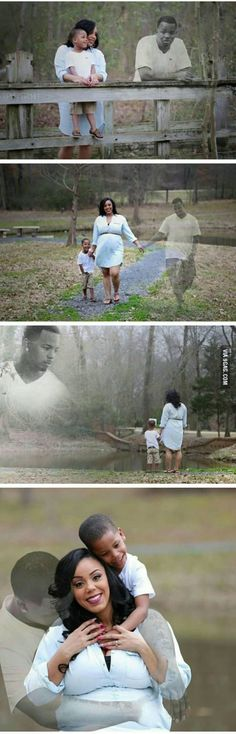 Her husband passed away and the photographer recreated the vision of the dad being there