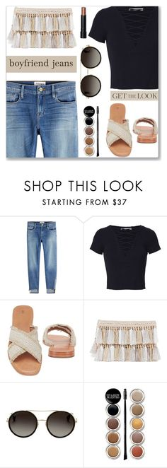 """""""I borrowed my boyfriends jeans"""" by jan31 ❤ liked on Polyvore featuring Frame, T By Alexander Wang, Frye, Gucci, Giorgio Armani, Bobbi Brown Cosmetics, boyfriendjeans, Bronze, mules and croppedtees"""