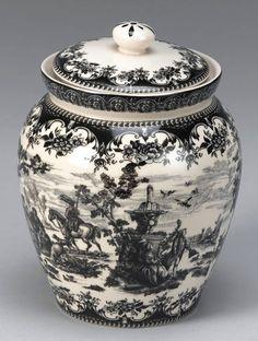 Black Victorian Toile Porcelain Biscotti or Cookie Jar