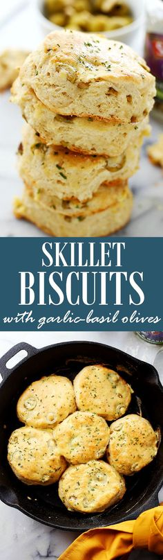 Skillet Biscuits with Garlic-Basil Olives | www.diethood.com | Light, fluffy, very easy to make Biscuits baked in a skillet and stuffed with delicious garlic-basil olives! 25 minutes from start to finish!