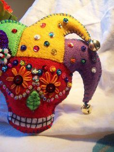 Sugar skull jester Mardi Gras by lesliesvarietyshow on Etsy