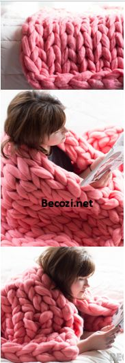 I don't know a lot about knitting and even less about crochet. But dang I wouldn't try to make a fluffy giant pink blanket to feel like pretty princess in! Crochet Crafts, Crochet Yarn, Yarn Crafts, Crochet Stitches, Finger Knitting, Arm Knitting, Knitting Patterns, Crochet Patterns, Yarn Projects