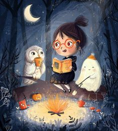 """10k Likes, 124 Comments - Lucy Fleming (@illustratelucy) on Instagram: """"Time for ghost stories  #halloween #illustration #halloweenart #forest #moon #night #costume…"""""""