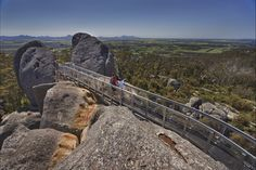 Over 100 million years in the making, the striking granite outcrop of Castle Rock invites you to walk its 670 metre peak and take in a truly exhilarating view from the suspended Granite Skywalk. The more adventurous, have the option of scaling the . Western Australia, Australia Travel, Australian Holidays, Forest Scenery, Castle Rock, Down South, Whale Watching, Travel And Tourism, Surfing